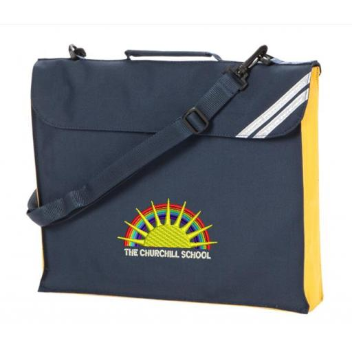 Churchill Expandable Book bag with yellow trim