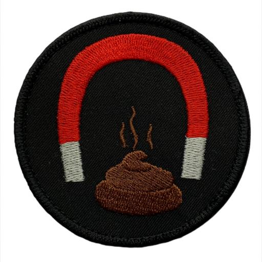 8cm Round Patch. S**t Magnet. Hook or Iron on Backed