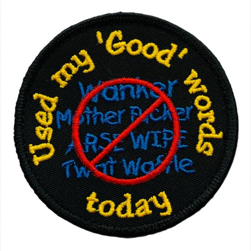 8cm Round Patch. Used my Good Words Today. Hook or Iron on Backed