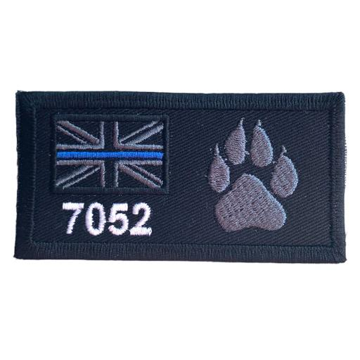 Thin Line Union Jack Dog Paw Patch 10cm x 5cm Personalised with name or number