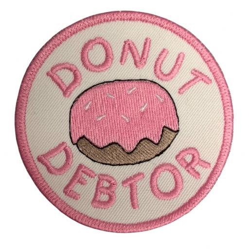 Donut Debtor 8cm Round Patch.